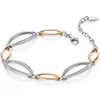 Ladies Two Tone Stone Set Marquise Cut Out Bracelet