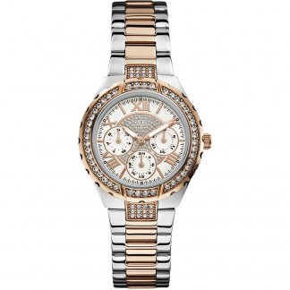 Ladies Two Tone Stone set Multi-Function Viva Watch