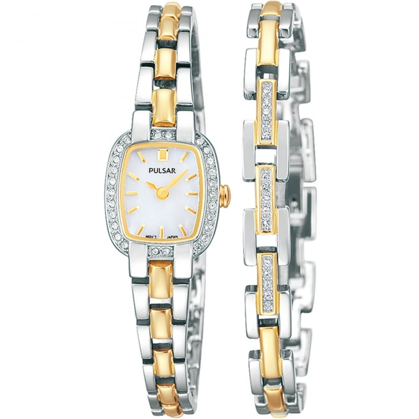 Ladies Two Tone Stone Set Watch and Bracelet Set PEGG43X2