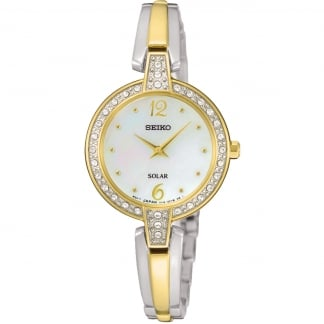 Ladies Two Tone Swarovski Set Solar Watch