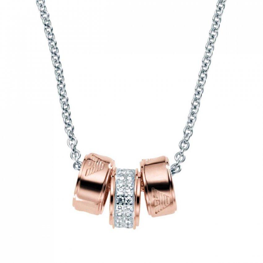Emporio Armani Ladies Two Tone Triple Ring Necklace EG3045040