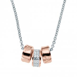 Ladies Two Tone Triple Ring Necklace