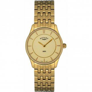 Ladies Ultra Slim Gold Tone Swiss Quartz Watch
