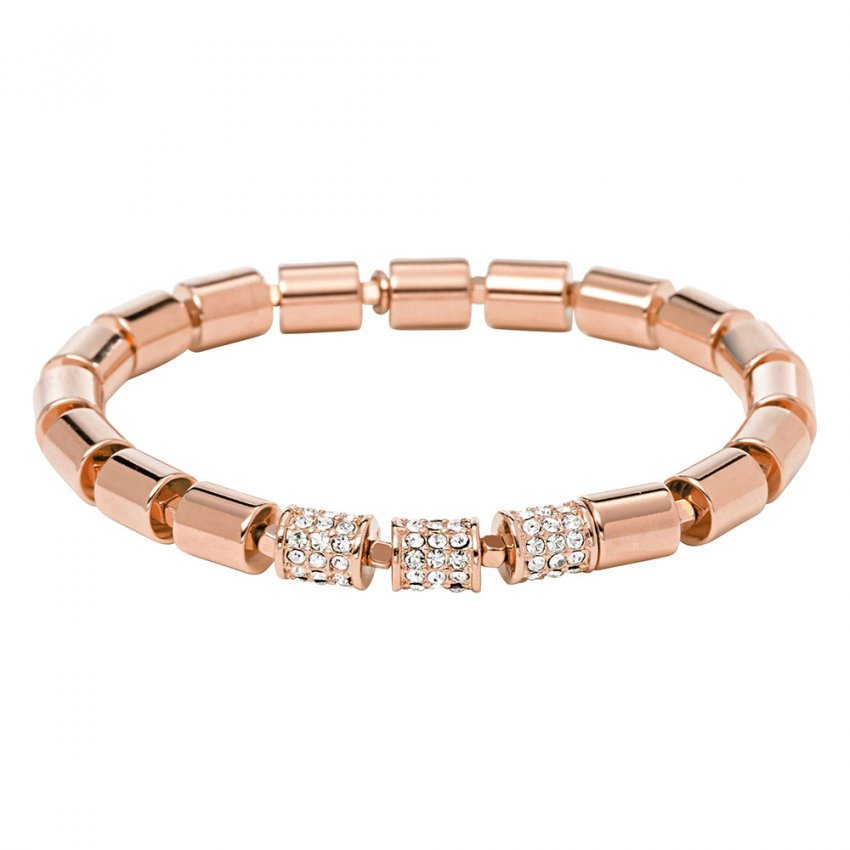 Fossil Ladies Rose Gold Vintage Glitz Barrel Stretch Bracelet JA6544791