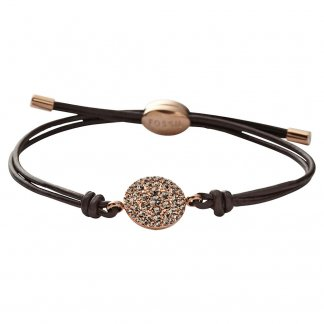 Ladies Vintage Glitz Rose Gold & Leather Ajustable Bracelet JF00118791