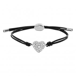 Ladies Vintage Motifs Leather & Glitz Heart Bracelet JF01206040