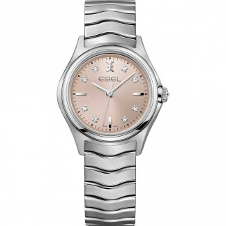 Ladies Wave Pink Dial Diamond Watch