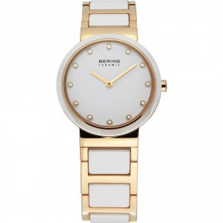 Ladies White Ceramic & Gold Plated Stone Set Watch