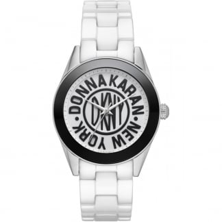 Ladies White Ceramic Logo Dial Watch