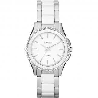 Ladies White Ceramic & Steel Westside Glitz Watch NY8818
