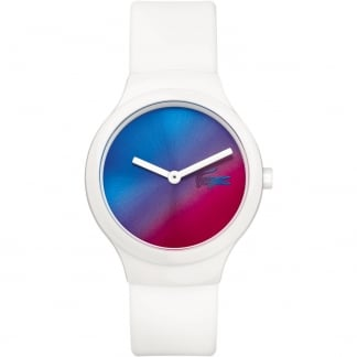 Ladies White Goa Watch with Blue to Red Dial