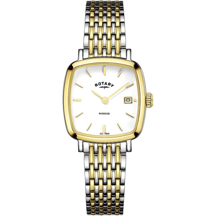 Rotary Ladies Windsor Two Tone Cushion Watch LB05306/01