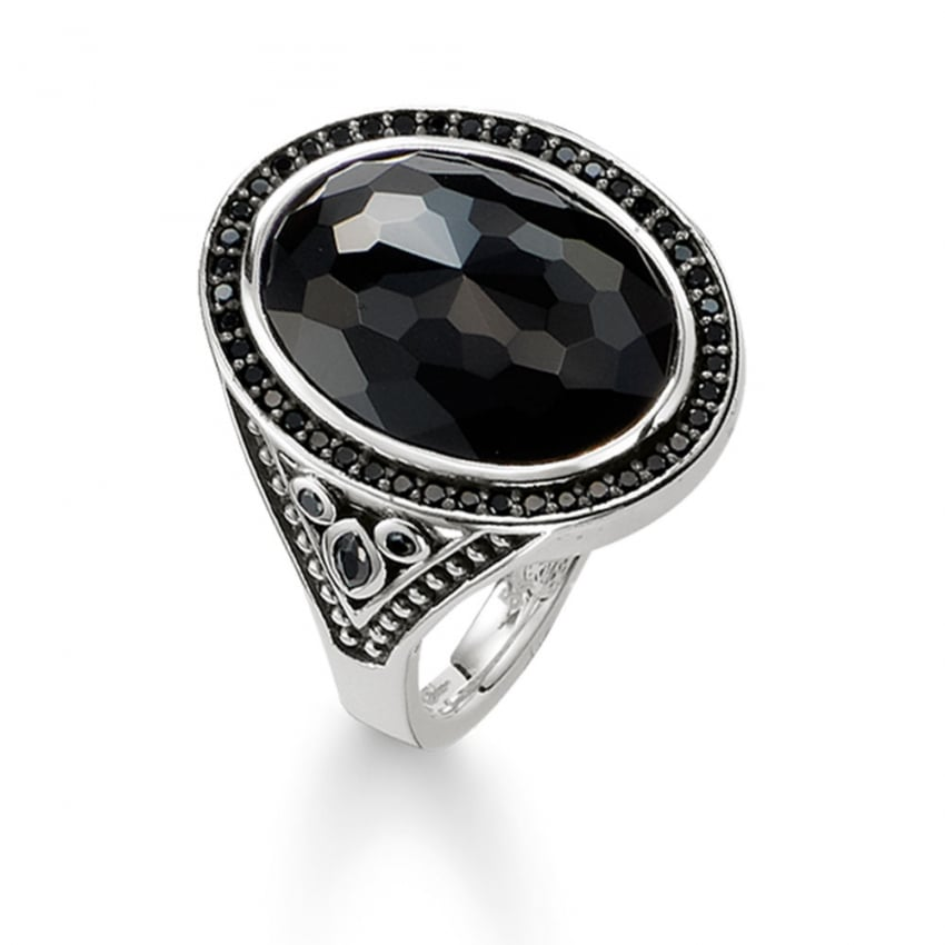 thomas sabo large silver oval shaped black onyx ring. Black Bedroom Furniture Sets. Home Design Ideas