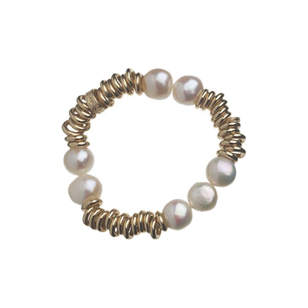 links of 18ct rolled gold and pearl sweetie