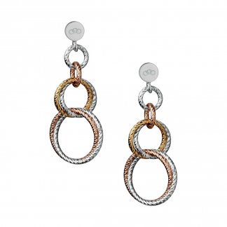Aurora Double Mixed Metal Link Earrings