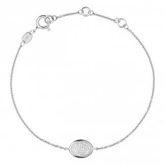 Diamond Essentials Silver Pave Oval Bracelet 5010.2849