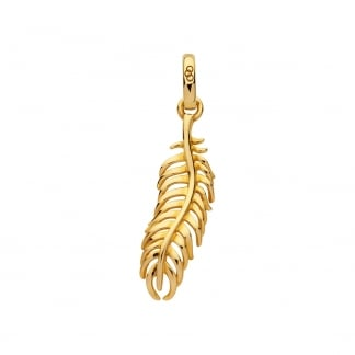 Gold Amulet Feather of Wisdom Pendant
