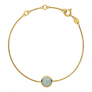 Gold Plated Bracelet with Diamond Pave Disc 5010.2844
