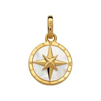 Gold Vermeil Mother of Pearl Compass Amulet Pendant