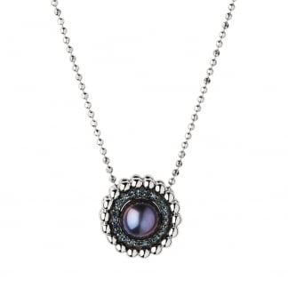 Effervescence Blue Diamond and Pearl Necklace