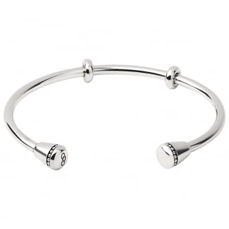 Ladies Large Amulet Silver Cuff Bangle