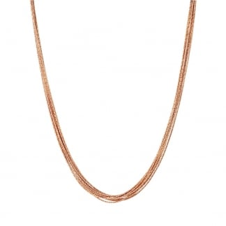 Rose Gold Vermeil 10 Silk Row Necklace
