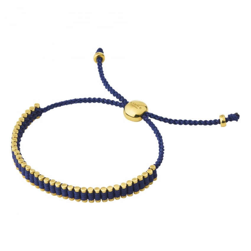 Links of London Ladies Yellow Gold and Navy Mini Friendship Bracelet 5010.3370