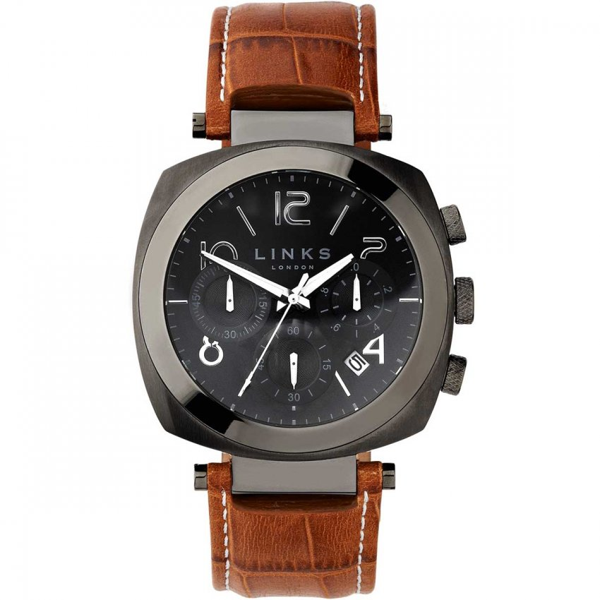 Links of London Men's Brompton Gunmetal Leather Chronograph Watch 6020.1142