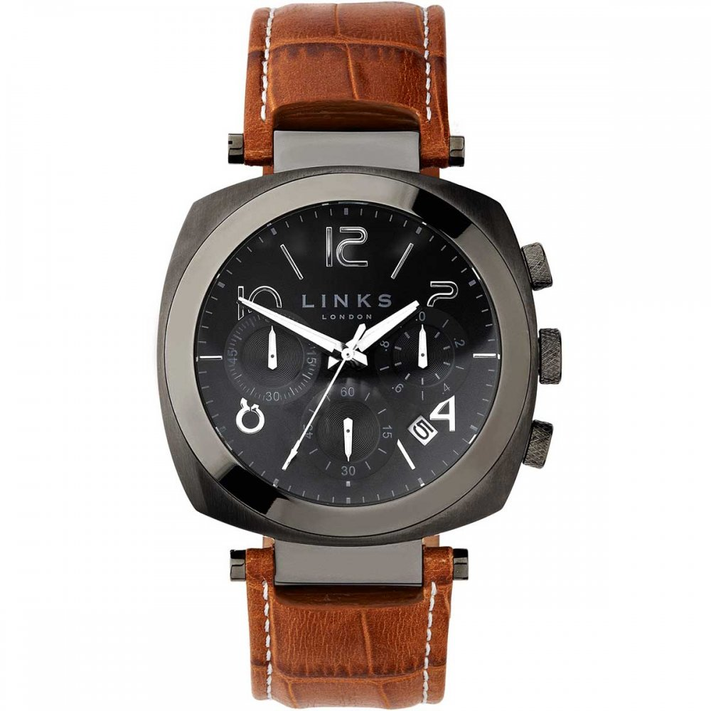 1a5c4c7f1 Links of London Men's Brompton Gunmetal Leather Chronograph Watch Product  Code: 6020.1142