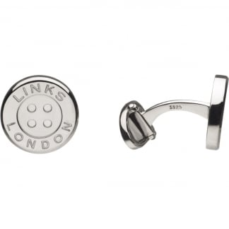 Men's Button Sterling Silver T-Bar Cufflinks