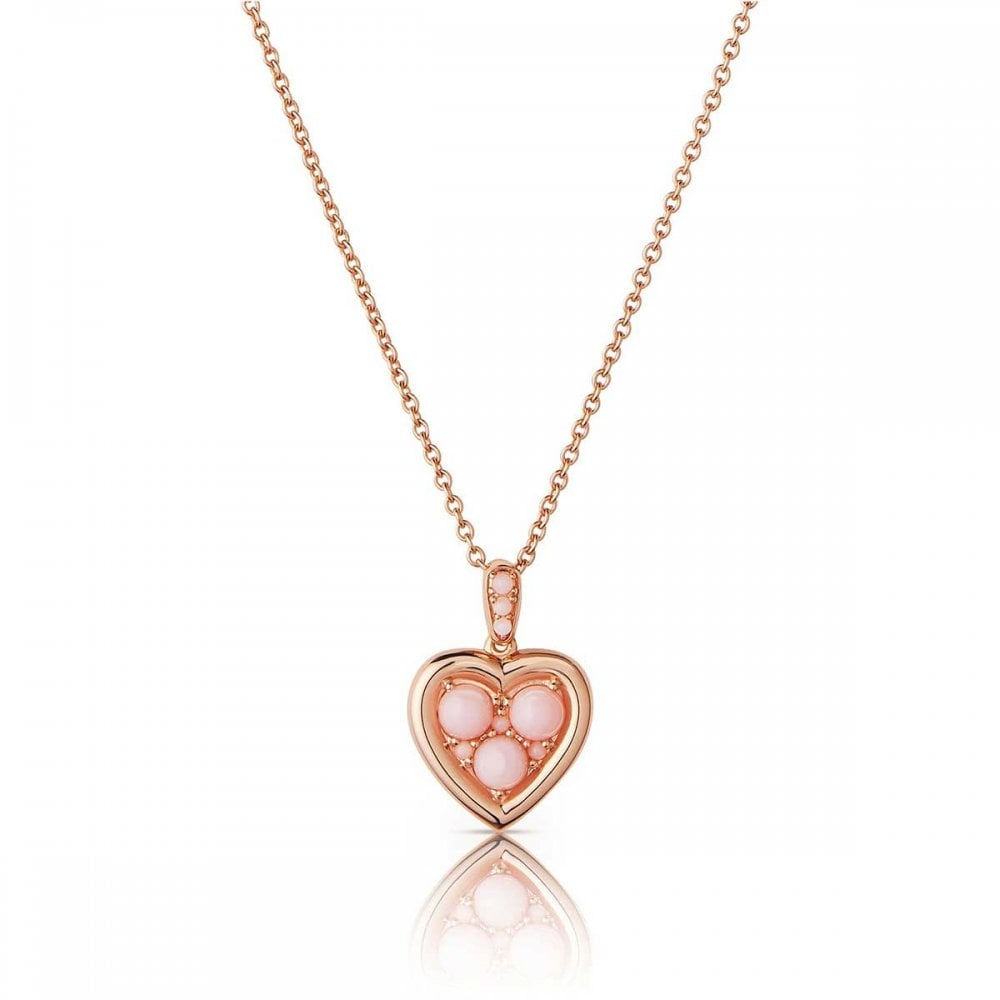 Links Of London Open Heart Rose Gold And Pink Opal Heart Necklace Jewellery From Francis Gaye Jewellers Uk