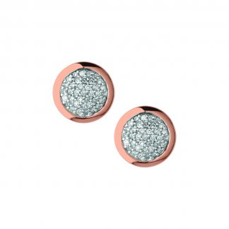 Pave Diamond Essentials Rose Gold Studs