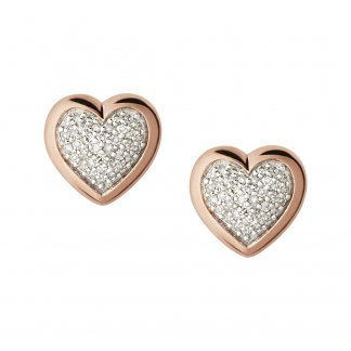 Rose Gold Diamond Essentials Heart Studs