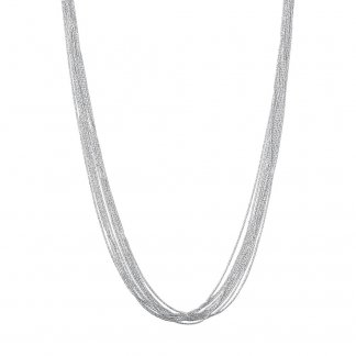 Silk 10 Row Silver 45CM Necklace