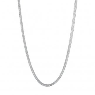 Silk 5 Row Silver 80CM Necklace