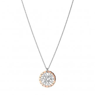 Silver & Rose Gold Dream Catcher Necklace 5020.2642