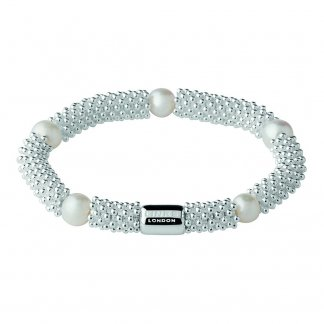 Silver and White Pearl Effervescence Star Bracelet
