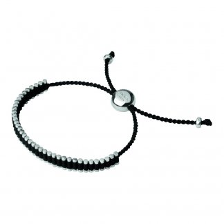 Silver & Black Cord Mini Friendship Bracelet