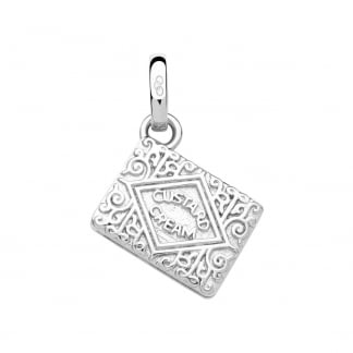 Silver Custard Cream Biscuit Charm