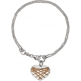 Silver & Rose Gold Heart Dream Catcher Bracelet