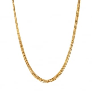 Yellow Gold Vermeil 45cm Silk Row Necklace