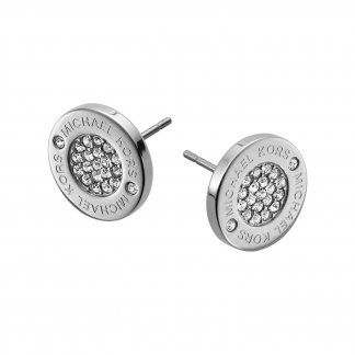 Logo Pave CZ Stud Earrings