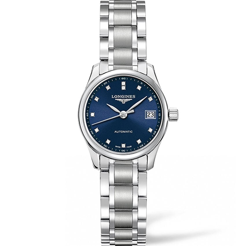 Longines Ladies Blue Diamond Dial Master Automatic Watch L2.128.4.97.6