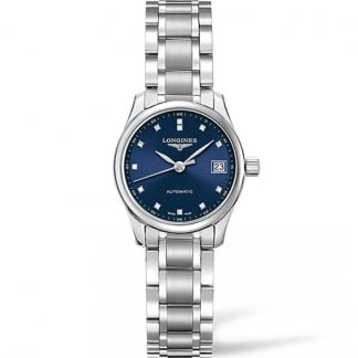 Ladies Blue Diamond Dial Master Automatic Watch L2.128.4.97.6