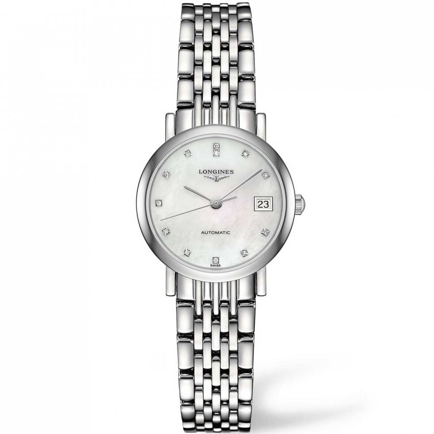 Longines Ladies Elegant Automatic Diamond Mother of Pearl Watch L4.309.4.87.6