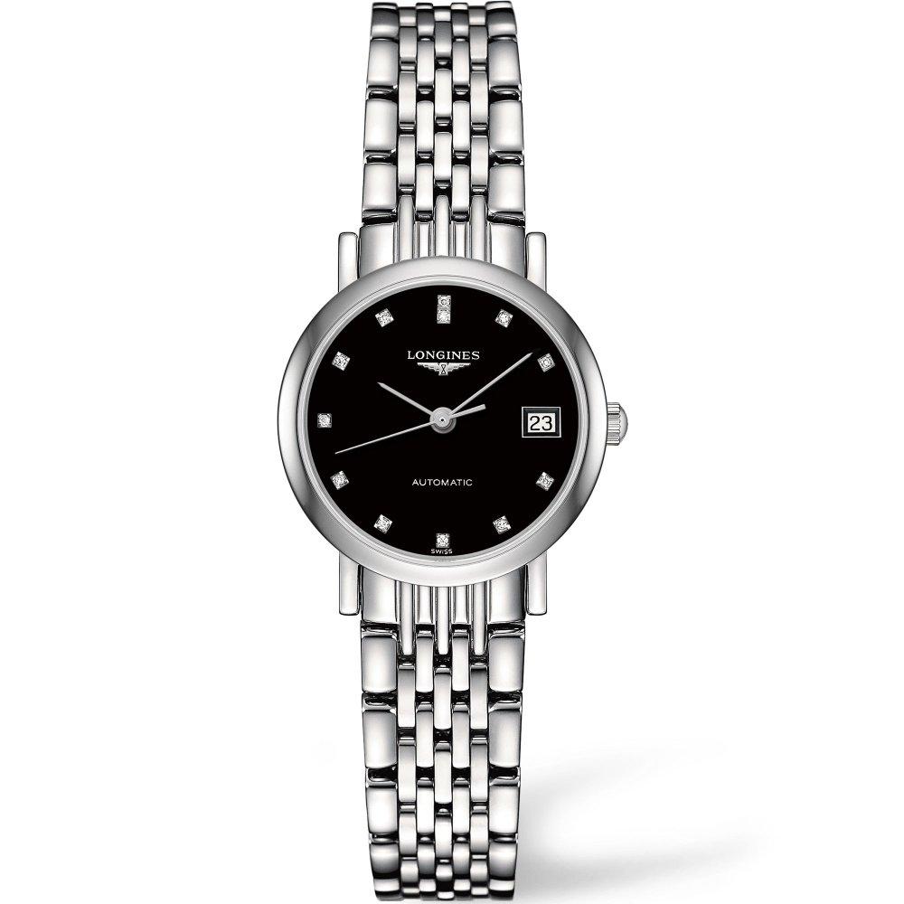 7d5e1b5220c Longines Ladies Elegant Diamond Set Black Dial Watch Product Code   L4.309.4.57.6