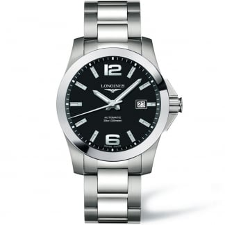 Men's 41MM Conquest Automatic Black Dial Bracelet Watch