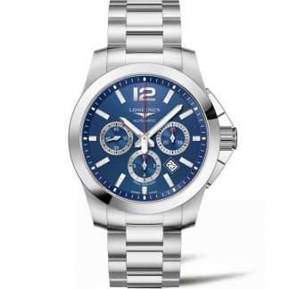 Men's Conquest Automatic Blue Dial Chronograph Watch