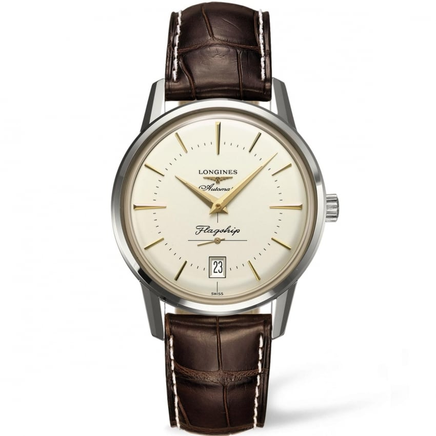 Longines Men's Flagship Heritage Brown Leather Automatic Watch L4.795.4.78.2