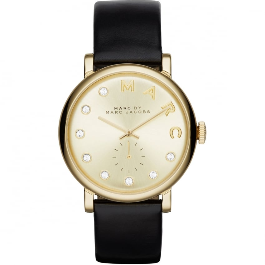 Marc Jacobs Ladies Black Strap Gold and Stone Set Baker Watch MBM1399